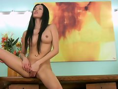 Sizzling asian teases her lush dripping clit