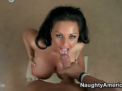 Chesty Kerry Louise gets a huge load cummed on her face after banging