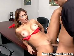 Tired of answering phones, attractive secretary Monique Fuentes answers to a extremely huge shaft