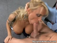 Holly Halston and her mega big melons straddle a man to suck him off