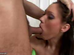 Aspen strips off skirt and deepthroats extremely huge shaft