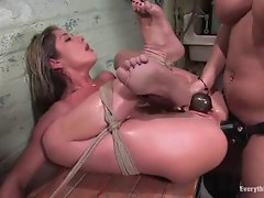 Isis Love putting on a strap-on and going brutal inside of Felonys stunning anal