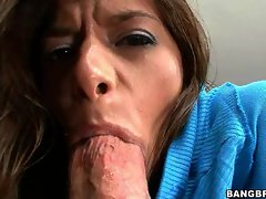 Hussy Madelyn Marie filling her sexual mouth with a load of stiff pecker
