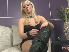 Ashley Fires attractive blond slutty girl in black boots