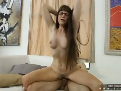 Alxandra Silk very hairy mommy in glasses receive a hard throbbing dick