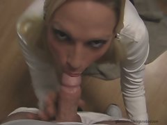 Nikki Hunter kneel at the altar of filthy guy's strong throbbing dick