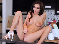 April ONeil finger fuck on kitchen table