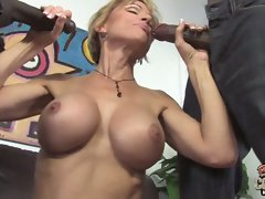 Cameron gets her mouth around two ebony shafts