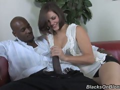 Bobbi Starr doing a brutal handjob for a ebony lad