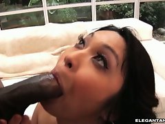 Mika Tan eat off a rough ebony prick of a hunky dude