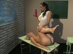 Mandy Bright and Tara Pinkish rope tied on class table