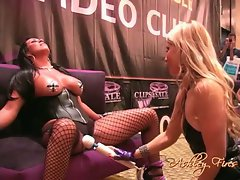 Ashley Fires use vibrating sex toy to her friend in the public