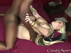 Candy Monroe alluring young lady got a brutal fuck on couch