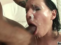 Wild banged hussy gets three cum loads on face