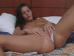 Heather Silk fingering her pussy in white panty