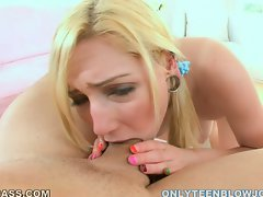 Blondie Rylie Richman deepthroats enormous shaft to the balls
