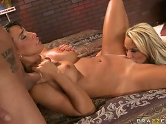 Holly Halston and Lezley Zen make love with one man