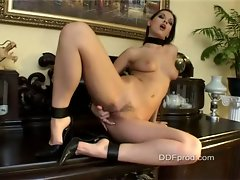 Eve Angel feeling the moisture between her sensual legs