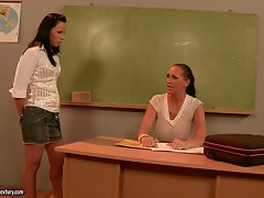 Mandy Bright whorish teacher talking with lewd student