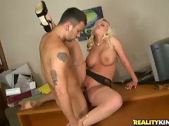 Britney Amber taking stiff phallus up sappy slot