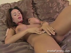 Ariella Ferrera chesty slutty girl fingering on bed