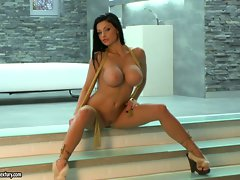 Aletta Ocean attractive mega tits cutie nude at the stairs