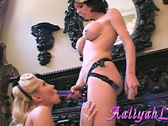 Aaliyah Love fellatio a strap on of her whorish master
