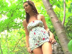 Sophia Knight toy fuck in the bush outdoor