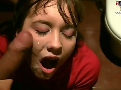 Dark haired bent over stuffed with sausage and gets facial