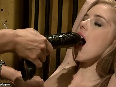 Mandy Bright force a tempting blonde slutty girl to blow a toy