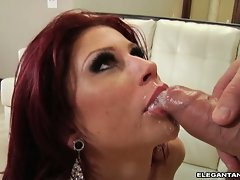 Brooklyn Lee gets a warm cum on her crazy mouth
