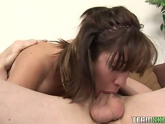 Sexual attractive dark haired exposes her skills as she deepthroats phallus