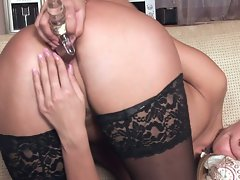 moist and alluring tempting blonde diddles her steamy bald vulva and screws herself with fake penis
