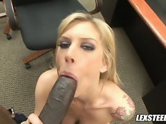 Charming young lady Brooke Biggs fills her obscene mouth with an cool dark prick