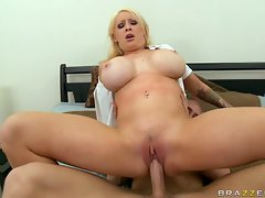 Candy Manson plugs a fleshy shaft in her tense quim and slides on it for enjoyment