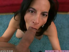 Attractive momma Melissa Monet feeds her starving mouth with a live brutal sausage