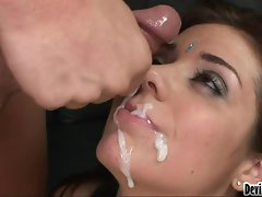 Excellent randy chicks getting creamed with cum facials...