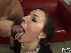 Bitchy dark haired Ashli Orion wants a splatter of lewd cum on her obscene mouth