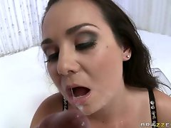 Dark haired tart Holly West gets a rich load of popshot on her mouth