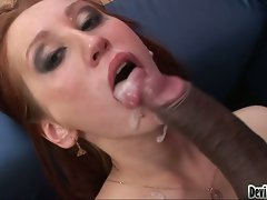 Filthy nympho gets her mouth all messed up with sticky jizzload