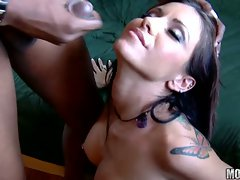 Lusty dark haired receives an cool rich load of dick spurt on her face