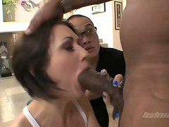 Sarah Shevon is irking an angry ebony shaft to explode filthy on her