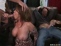 Buxom Kianna Dioris thumping a sappy penis in her mouth until she chokes