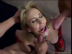 Obscene hussy Erica Lauren receives a rich load of dick spurt on her mouth