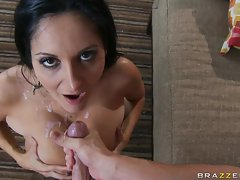 Tempting Ava Addams awaits a sweet attractive spurt of shaft sauce on her whorish face