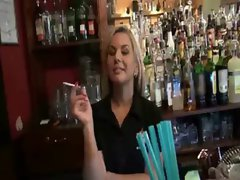 Smoking amateur blond chick payed and wild rammed in the bar