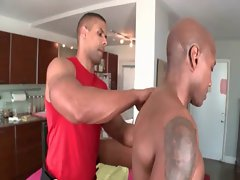 Attractive body massage with gay studs