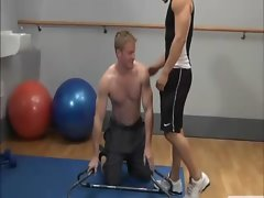 Muscular fitness dudes workout mouths and tongues on prick