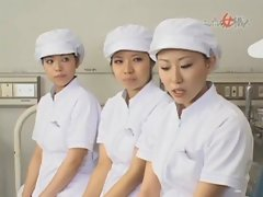 Asian nurse exposes handjob skills