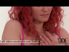 Vanessa _ Curly redhead chick playing with her bushy natural quim
